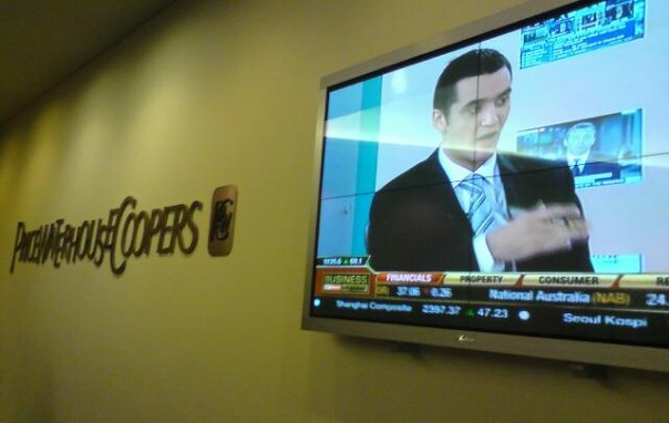 On screen at the PWC Foyer on Sky News Business (2007)