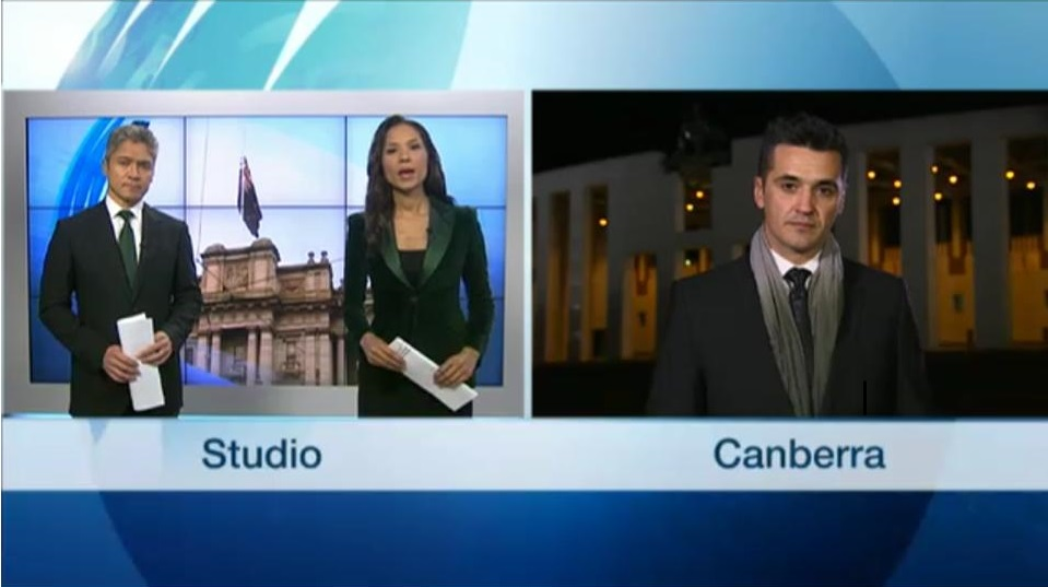 Live cross from Canberra for SBS World News (2014)